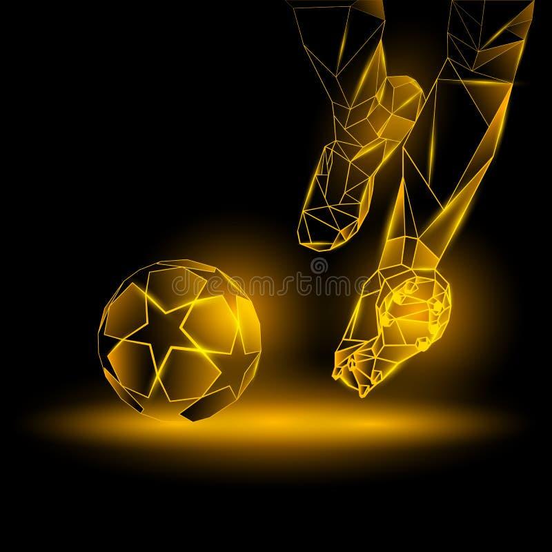Ejemplo poligonal del saque de centro del fútbol El jugador de fútbol golpea la bola libre illustration