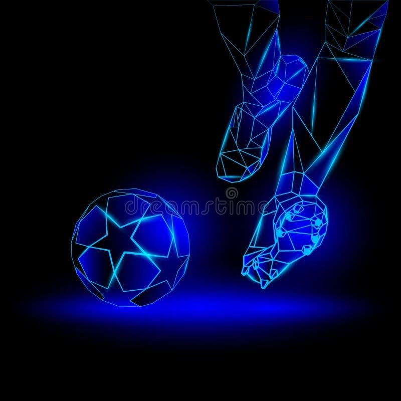 Ejemplo poligonal del saque de centro del fútbol El jugador de fútbol golpea la bola stock de ilustración