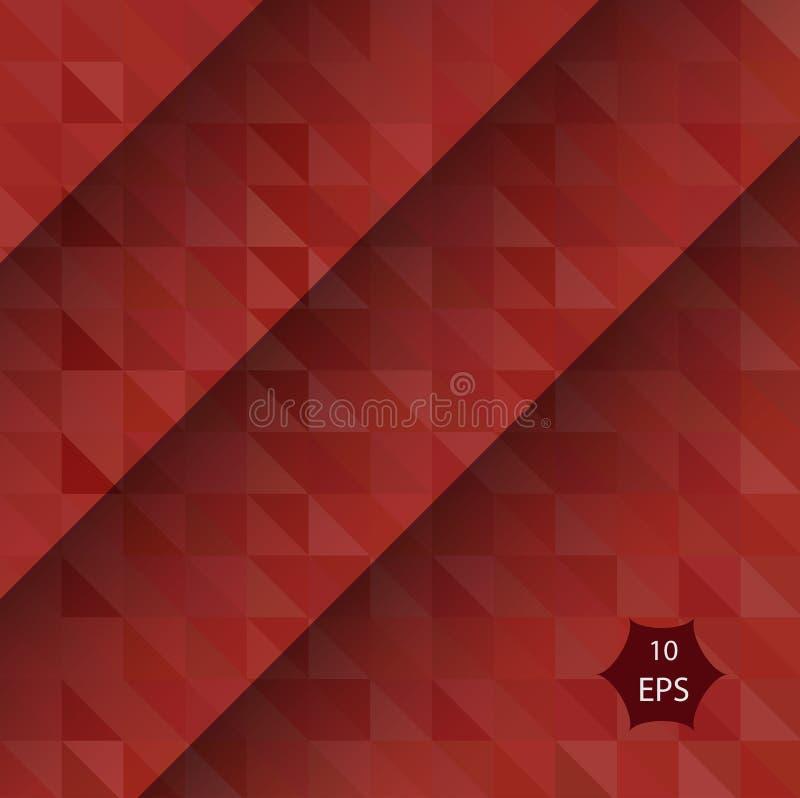 Ejemplo poligonal rojo oscuro, que consisten en triángulos Fondo geométrico creativo en estilo de la papiroflexia con stock de ilustración