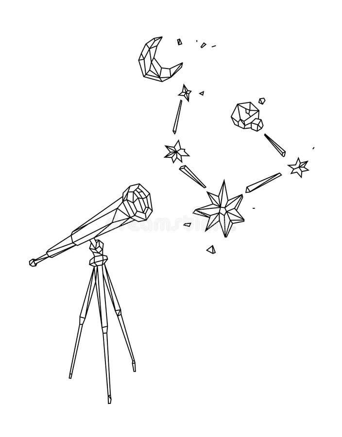 Ejemplo polivinílico bajo de un telescopio contra un cielo estrellado y la luna Vector Dibujo de esquema Estilo retro Fondo, símb libre illustration