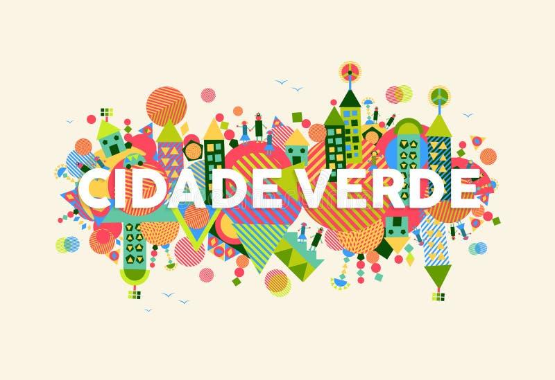 Ejemplo portugués de la lengua de la ciudad verde stock de ilustración