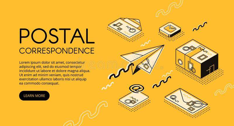 Ejemplo postal del vector de la correspondencia del correo ilustración del vector