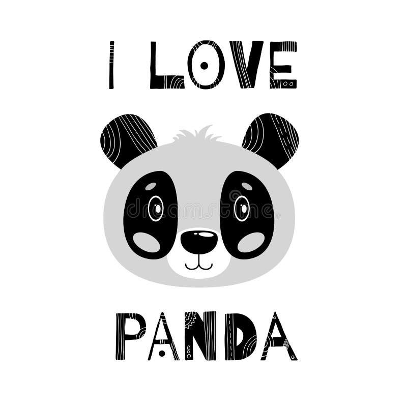 Ejemplo precioso del vector con una panda animal Fondo blanco Color blanco y negro stock de ilustración