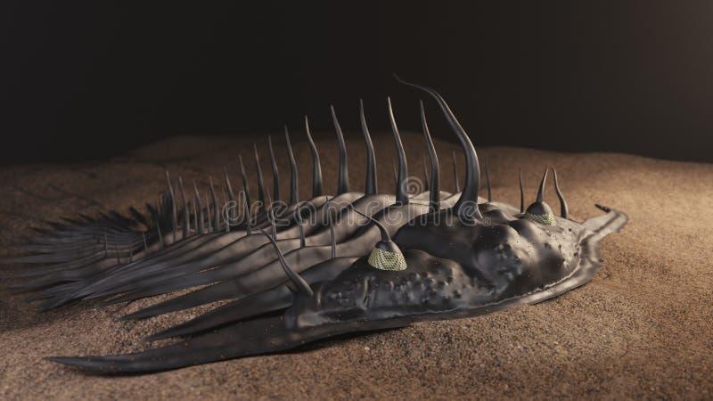 Ejemplo prehistórico del trilobite 3d stock de ilustración