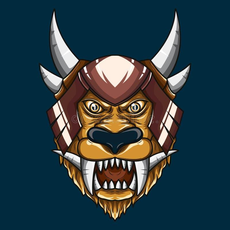Ejemplo principal del demonio mítico del león Arte detallado del vector de una cabeza mitológica de cuernos del león ilustración del vector