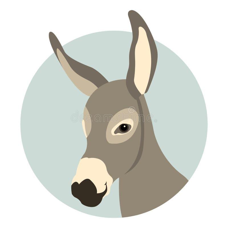Ejemplo principal del vector de la cara del burro plano stock de ilustración
