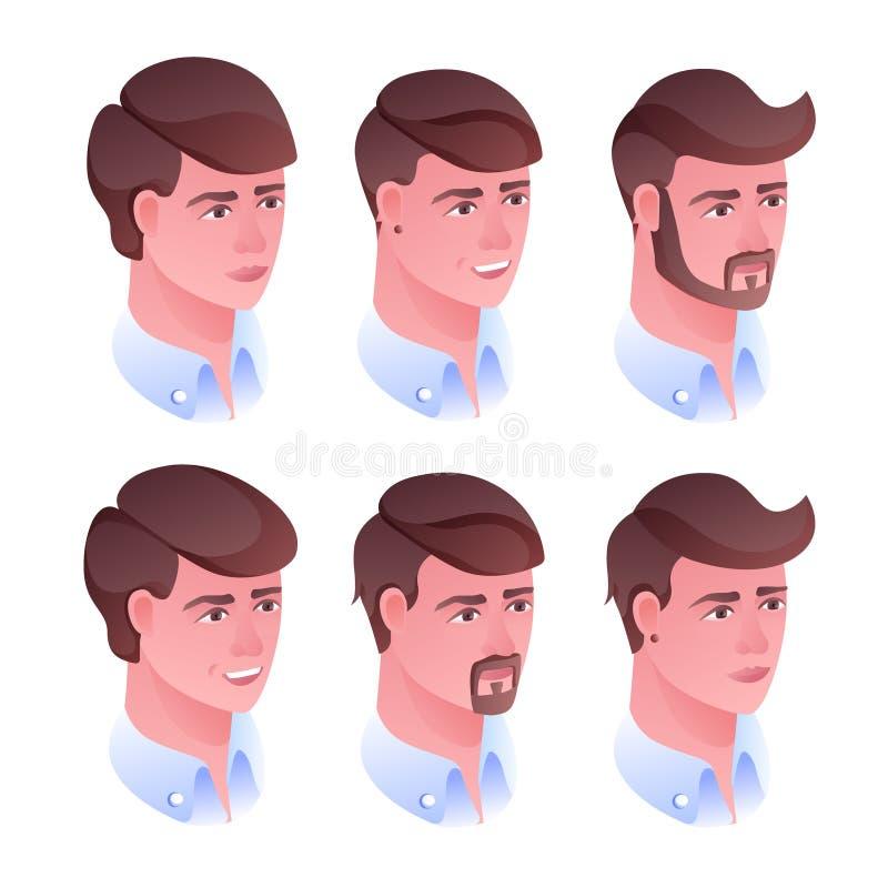 Ejemplo principal del vector del peinado del hombre ilustración del vector