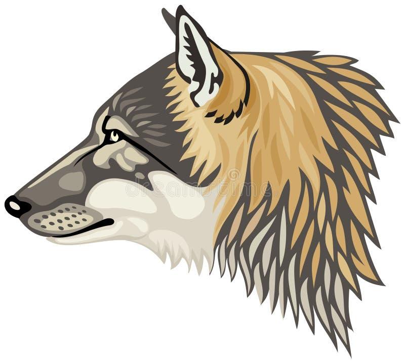 Ejemplo principal del vector del perfil del lobo stock de ilustración