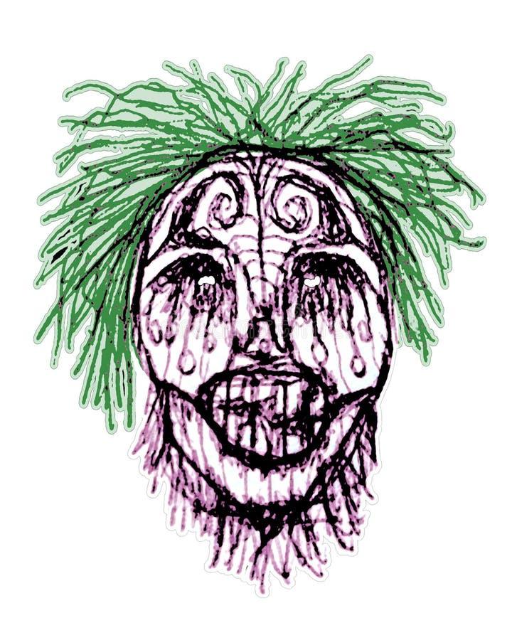 Ejemplo principal del zombi espeluznante ilustración del vector