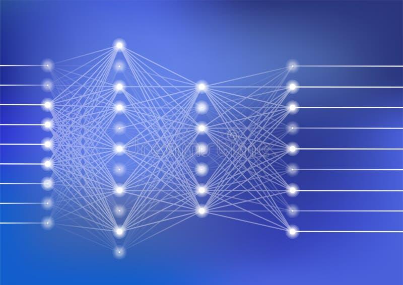 Ejemplo profundo del vector de la red neuronal con el fondo azul marino para la inteligencia artificial stock de ilustración