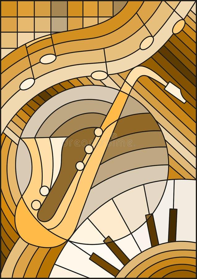 Ejemplo a propósito de la música, la forma del vitral de un saxofón abstracto en el fondo geométrico, tono marrón stock de ilustración
