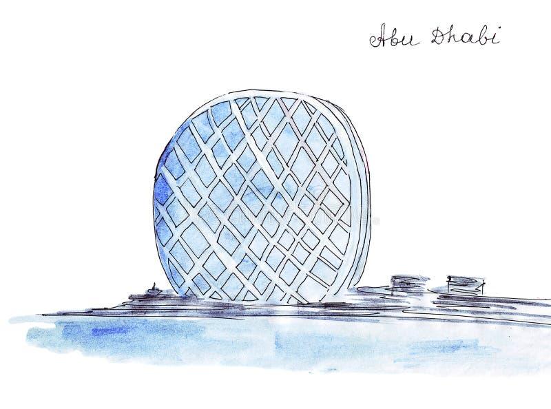 Ejemplo que bosqueja el primer rascacielos de la ronda de la señal en el mundo ilustración del vector