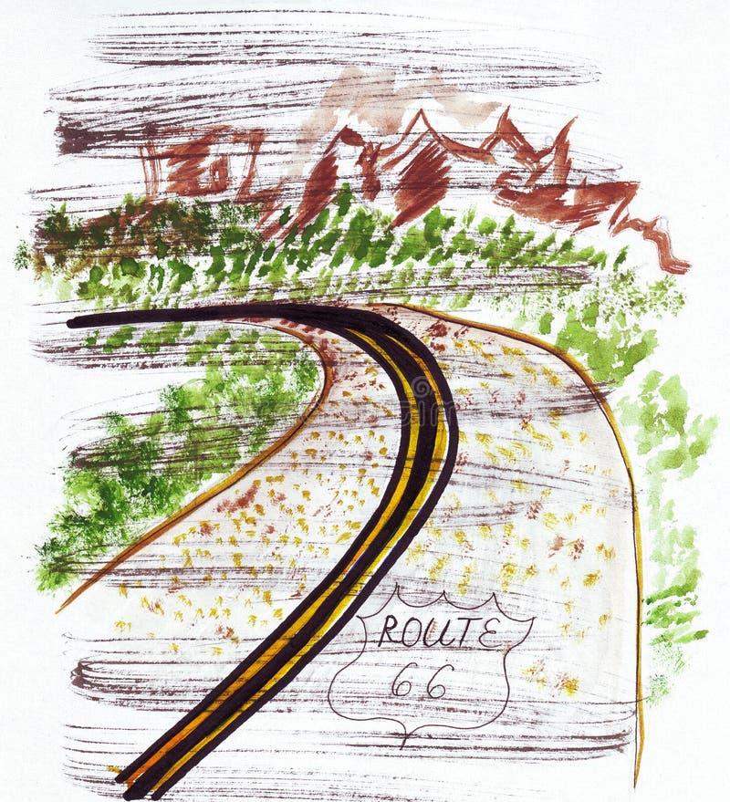 Ejemplo que bosqueja la carretera sesenta y seis de la señal en los Estados Unidos stock de ilustración