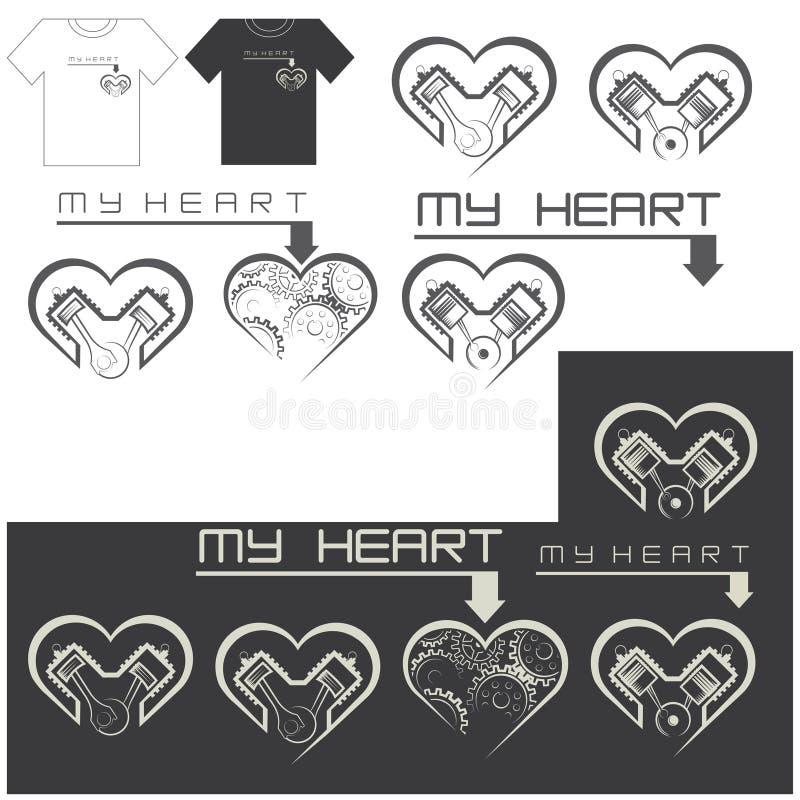 Ejemplo que consiste en varias imágenes bajo la forma de corazón con un motor libre illustration