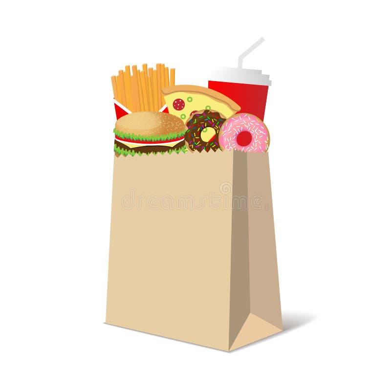 Ejemplo que ofrece una bolsa de papel por completo de los bocados comunes de los alimentos de preparación rápida libre illustration
