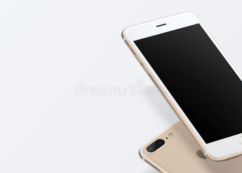 Ejemplo realista aislado smartphone del oro Pantalla en blanco Tecnología móvil Nuevo teléfono en fondo ilustración del vector