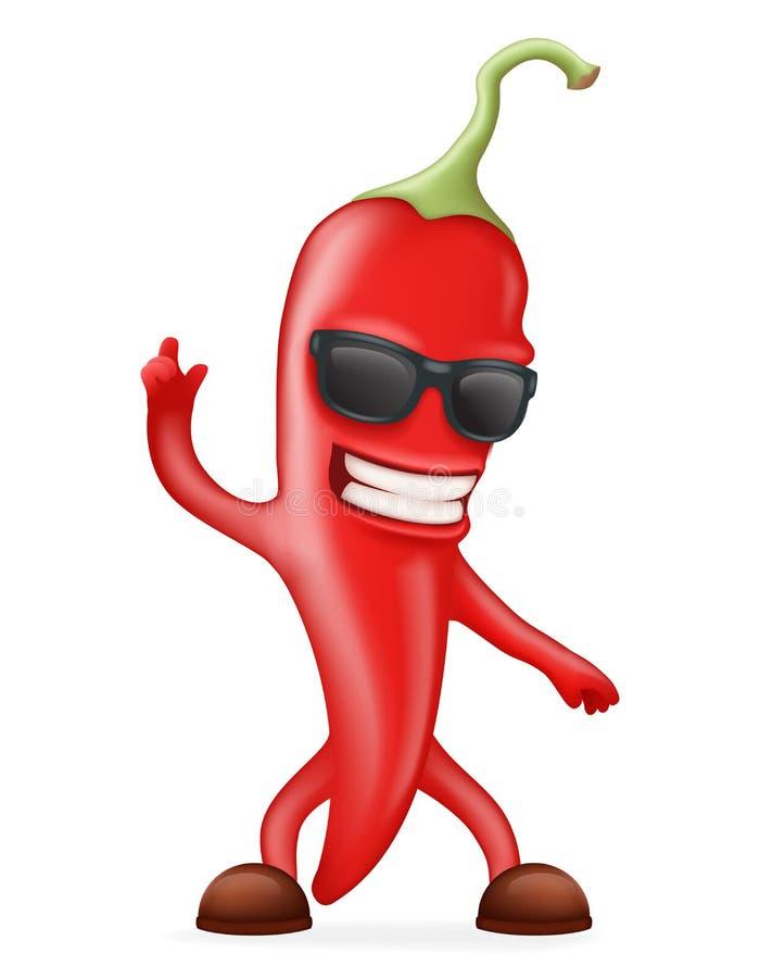 Ejemplo realista caliente del vector del diseño 3d de Chili Pepper Sunglasses Happy Character libre illustration