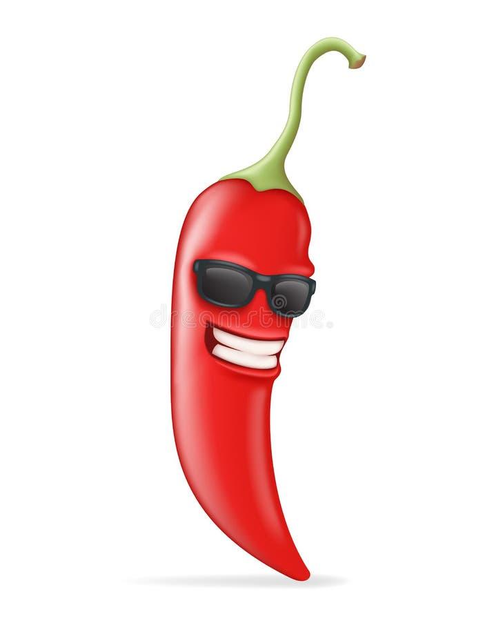 Ejemplo realista caliente fresco del vector del diseño 3d de Chili Pepper Sunglasses Happy Character ilustración del vector
