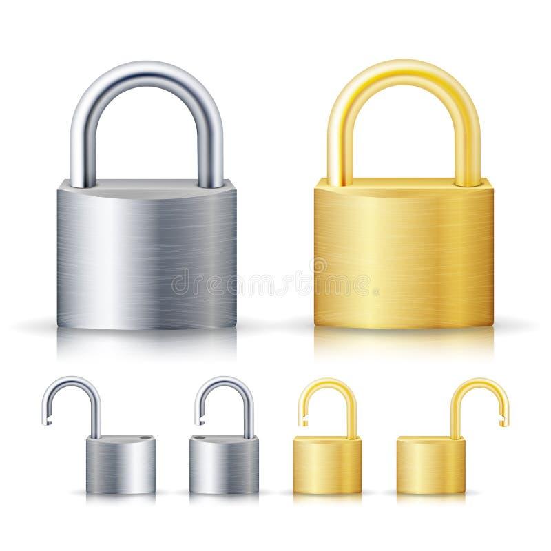 Ejemplo realista cerrado y desbloqueado del sistema del candado Oro y acero Concepto de la seguridad Cerradura del metal para la  libre illustration