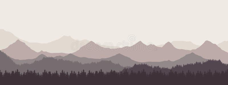 Ejemplo realista con pantalla grande del paisaje de la montaña con el bosque y las colinas debajo del cielo y de la niebla grise ilustración del vector
