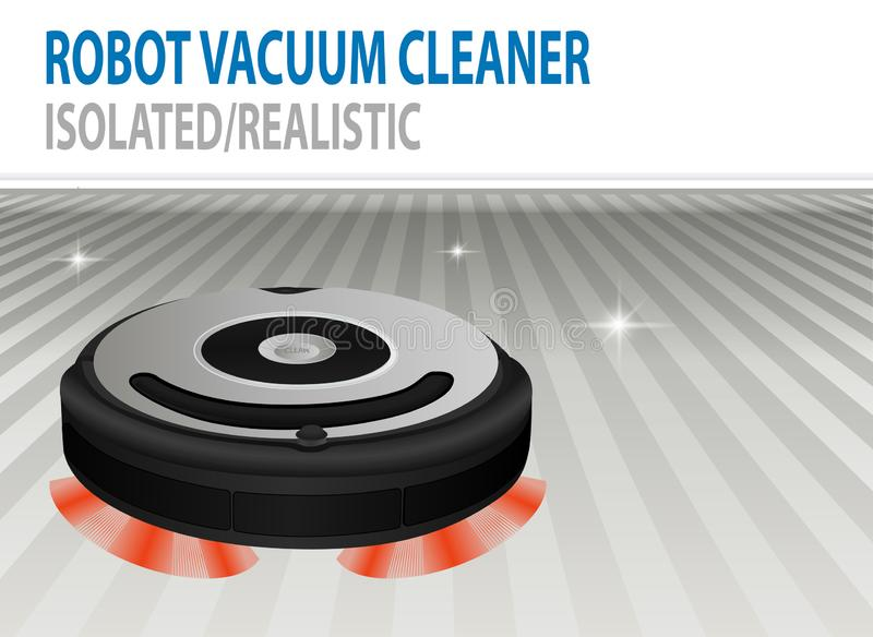 Ejemplo realista 3D del aspirador robótico aislado del vector Tecnolog?a de limpieza elegante Sitio de ?lean ilustración del vector