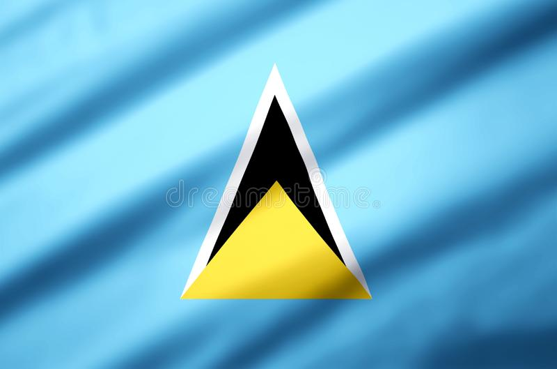 Ejemplo realista de la bandera de la Santa Lucía ilustración del vector