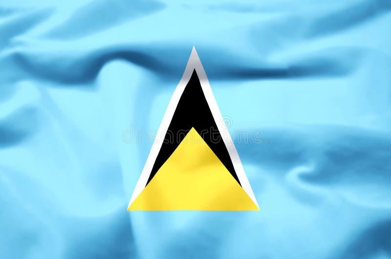Ejemplo realista de la bandera de la Santa Lucía stock de ilustración