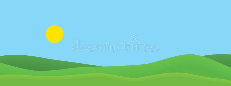 Ejemplo realista de la pantalla ancha de colinas herbosas verdes en paisaje del verano con el cielo azul con el sol brillante Con libre illustration