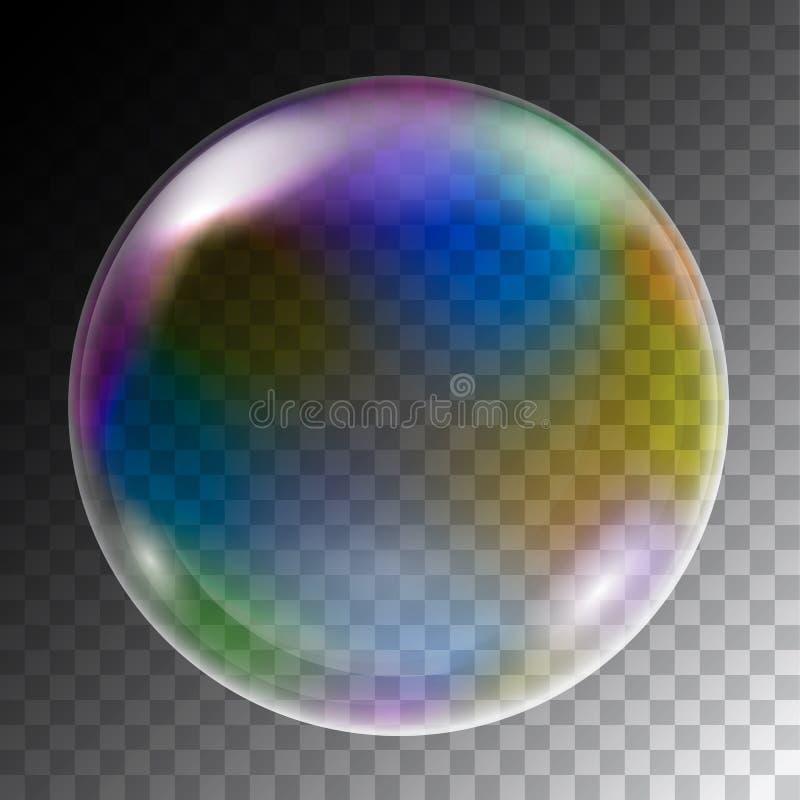 Ejemplo realista de las burbujas de jabón coloridas de la forma redonda w ilustración del vector