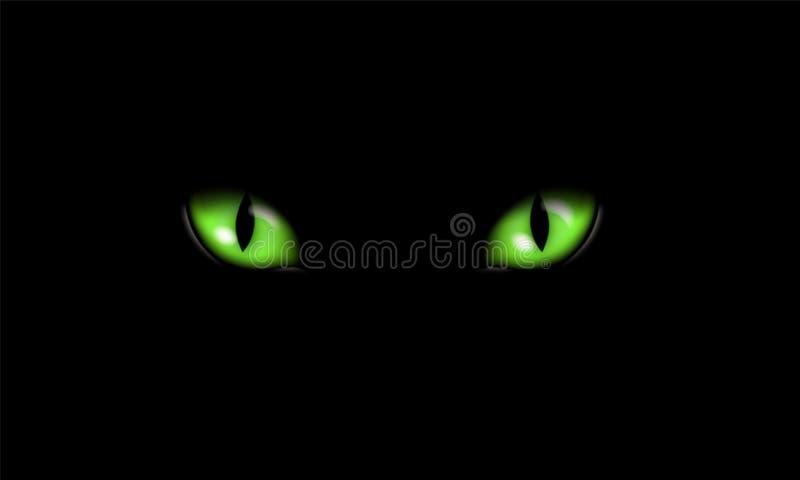 Ejemplo realista de ojos o del ojo de gato felinos verdes, aislado en fondo negro, vector stock de ilustración