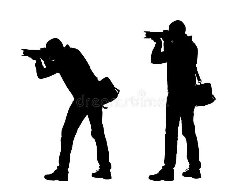 Ejemplo realista de siluetas de un fotógrafo del hombre con la cámara y el bolso Vector en el fondo blanco ilustración del vector
