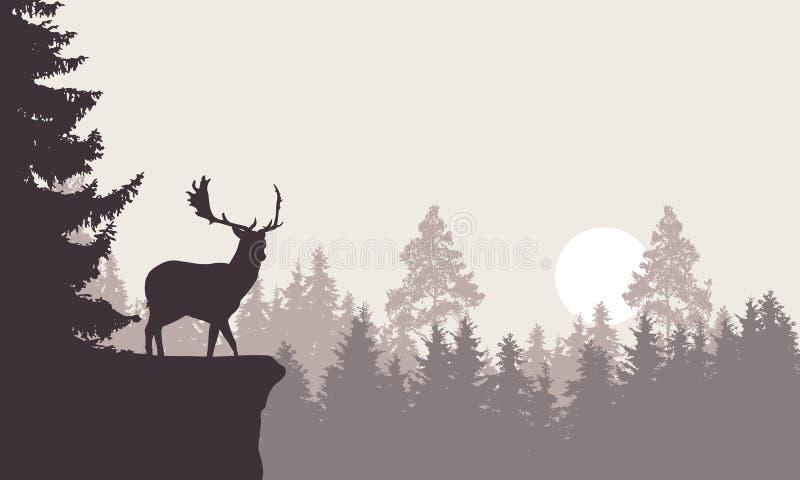 Ejemplo realista de un paisaje de la montaña con un bosque con los ciervos que se colocan en una roca Cielo retro con el sol naci ilustración del vector