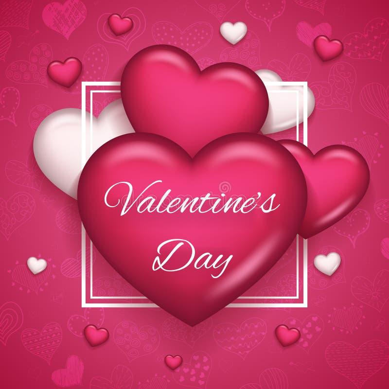 Ejemplo realista de Valentine Day Symbol Icon Vector del corazón 3d del diseño ascendente de la mofa de la plantilla de la tarjet stock de ilustración