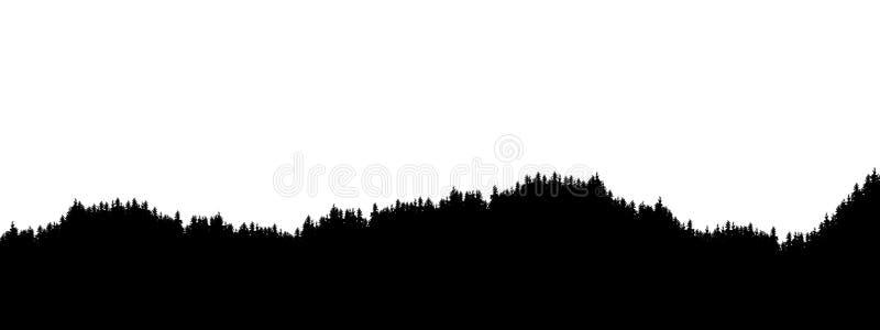 Ejemplo realista del horizonte del paisaje con los tops coníferos del bosque y del árbol Plantilla con pantalla grande, vector ilustración del vector