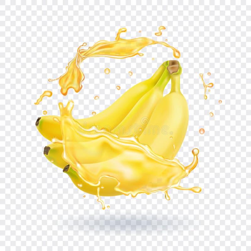 Ejemplo realista del jugo fresco del plátano Icono del vector de la fruta stock de ilustración