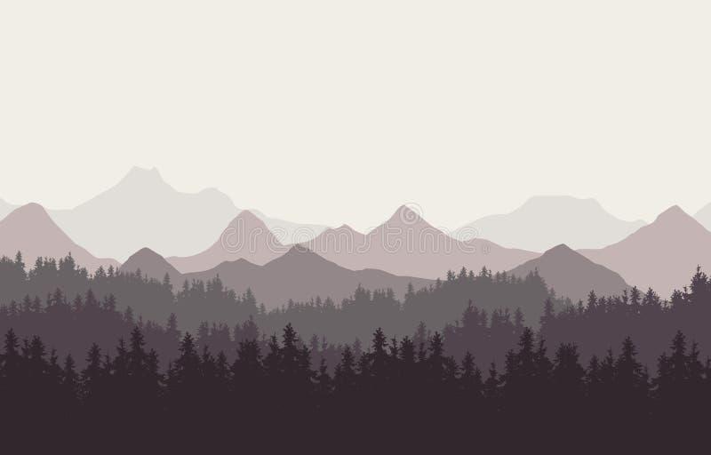 Ejemplo realista del paisaje de la montaña con las colinas y el bosque conífero debajo del cielo retro del color Conveniente como libre illustration