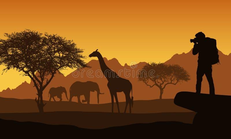 Ejemplo realista del safari africano con paisaje, árboles y elefante y jirafa de la montaña Turista con las tomas de la mochila stock de ilustración