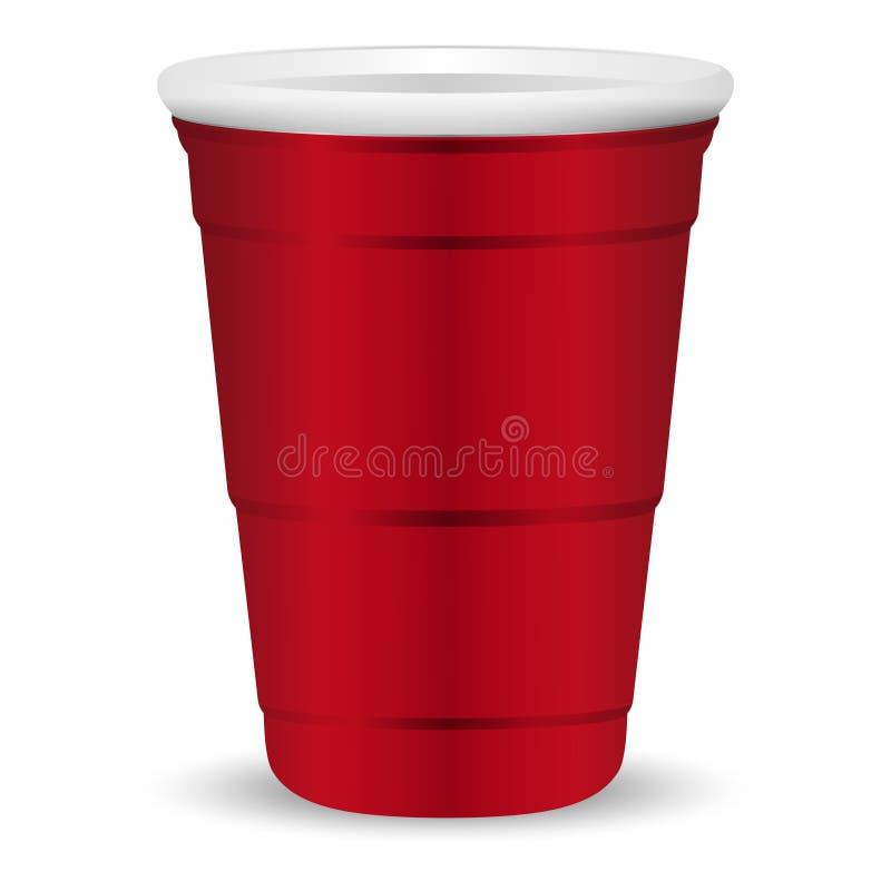 Ejemplo realista del vector 3d de la taza roja del partido Maqueta del plástico disponible o del envase de papel para las bebidas stock de ilustración