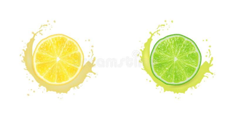 Ejemplo realista del vector 3D Limón cortado, y cal Chapoteo del jugo de la leche Fondo colorido de la fruta c?trica libre illustration