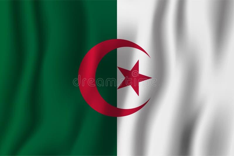 Ejemplo realista del vector de la bandera de Argelia que agita Coun nacional stock de ilustración
