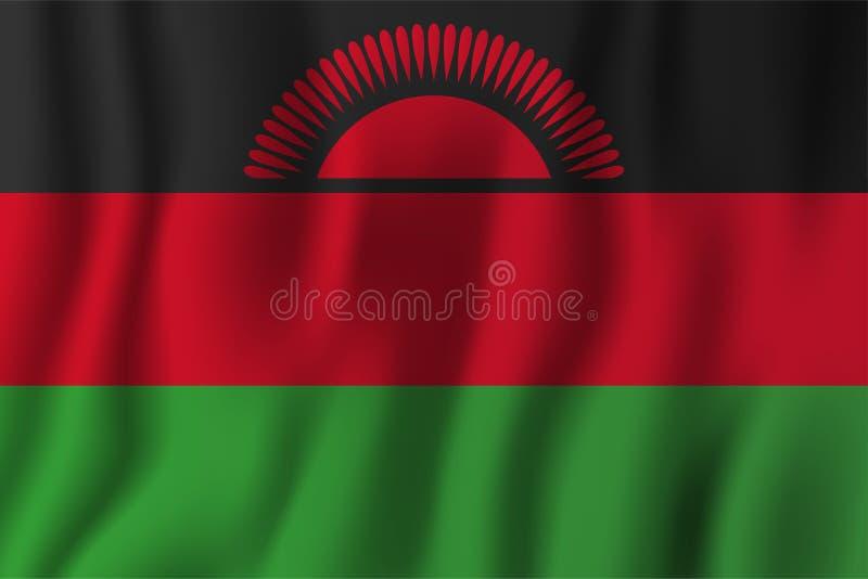 Ejemplo realista del vector de la bandera de Malawi que agita Símbolo nacional del fondo del país Fondo del grunge de la independ stock de ilustración