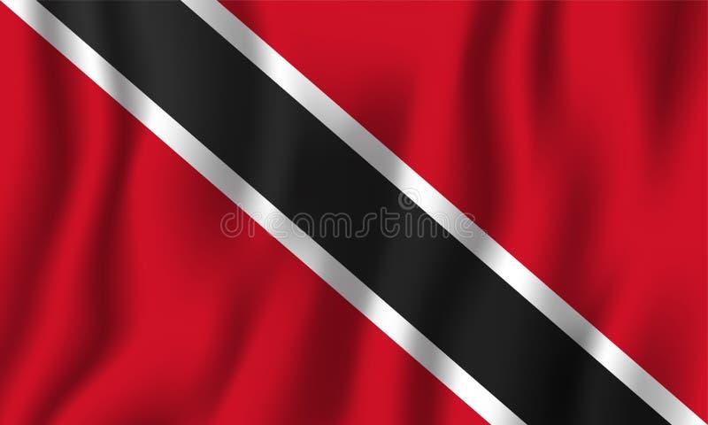 Ejemplo realista del vector de la bandera de Trinidad and Tobago que agita Símbolo nacional del fondo del país Fondo del grunge d stock de ilustración