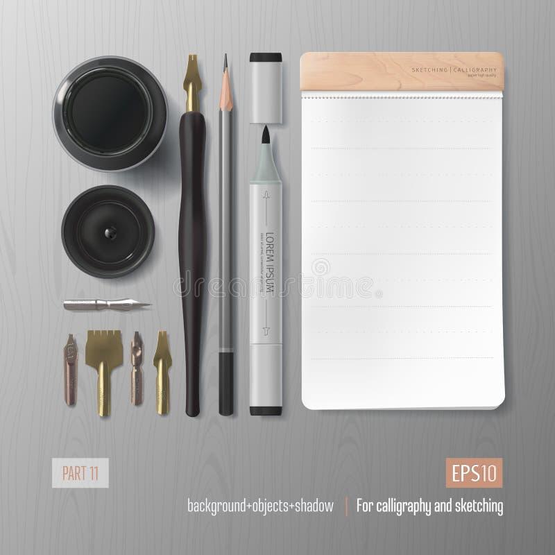 Ejemplo realista del vector de la caligrafía libre illustration