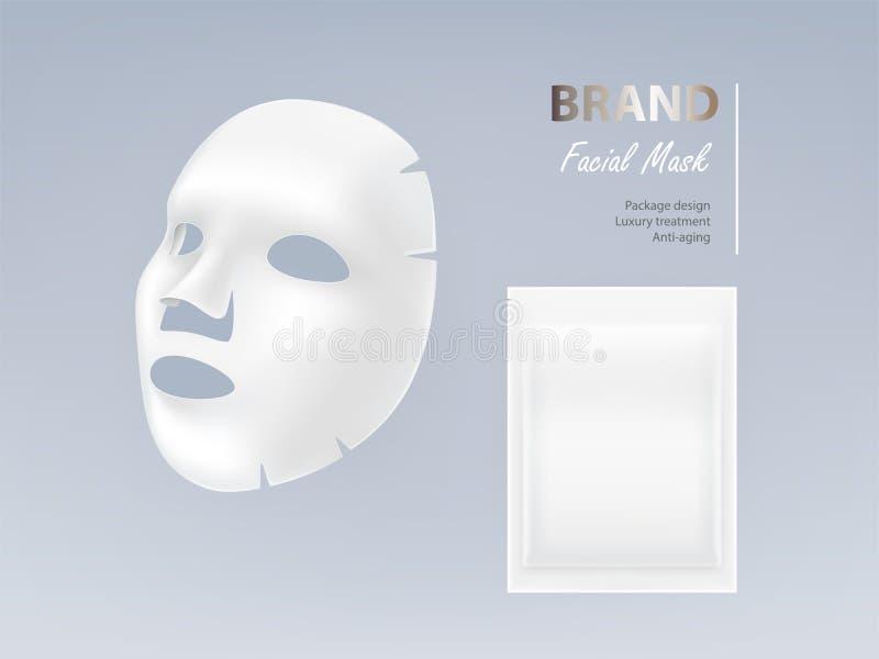 Ejemplo realista del vector de la máscara facial blanca ilustración del vector