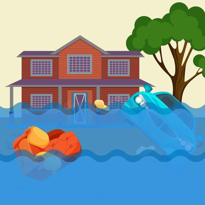 Ejemplo realista del vector del desastre natural de la inundación Casa de la cabaña, coche, árboles ilustración del vector