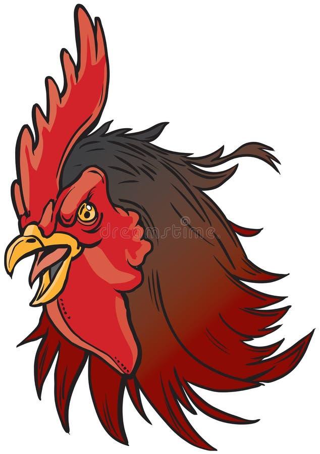 Ejemplo realista enojado de la cabeza de la mascota del gallo stock de ilustración