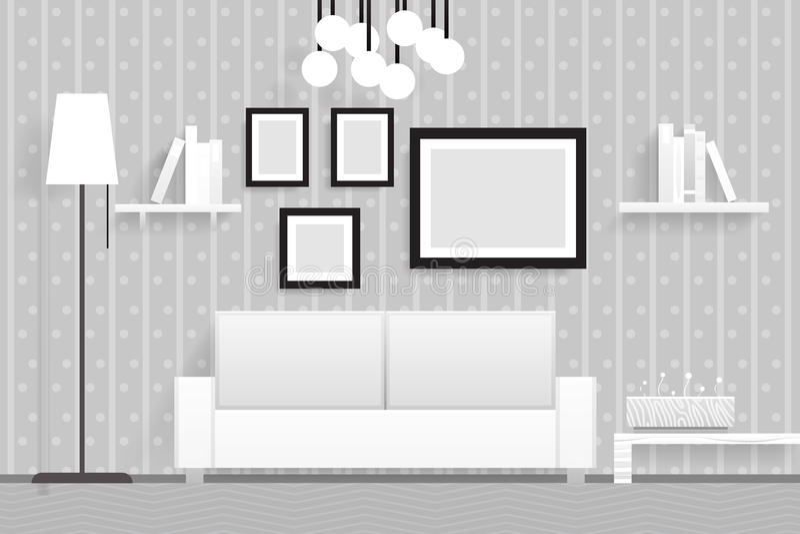 Ejemplo realista interior del vector del diseño de los muebles 3d de la sala de estar stock de ilustración