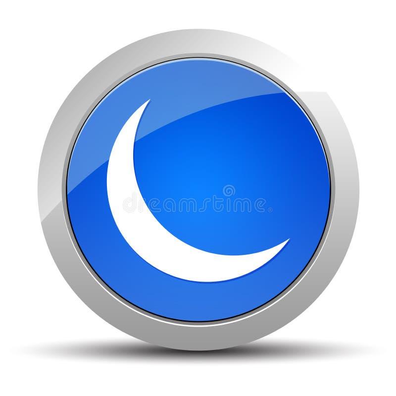 Ejemplo redondo azul del botón del icono creciente de la media luna stock de ilustración
