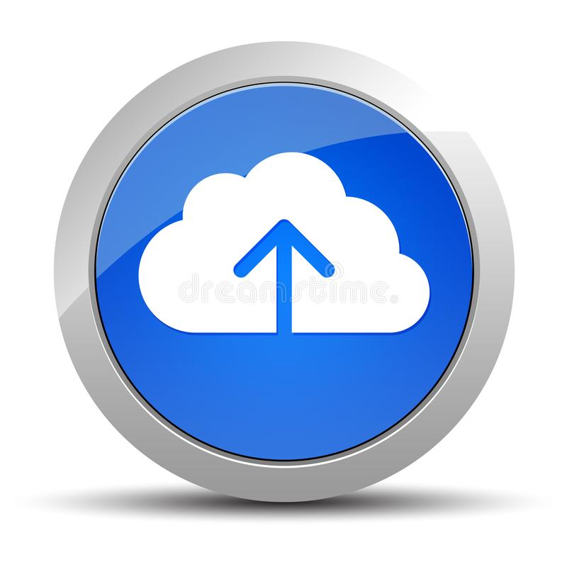 Ejemplo redondo azul del botón del icono de la carga por teletratamiento de la nube ilustración del vector