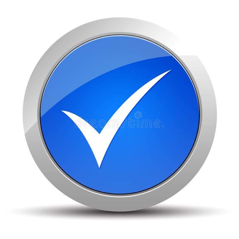 Ejemplo redondo azul del botón del icono de la marca de cotejo libre illustration